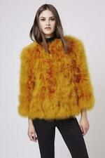 BNWT TOPSHOP UK SIZE 6-8 ORANGE MUSTARD MARABOU FEATHER JACKET WOMENS FUR COAT