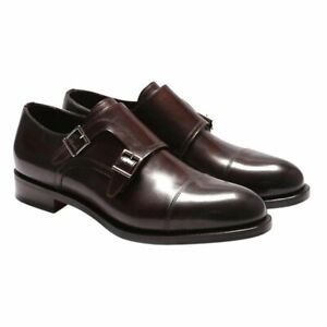 Santoni Leather Shoes Sz 10 Brown Oscar Goodyear Construction Italian RRP £655