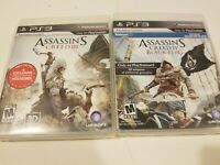 Assassins Creed 2 Game Bundle Lot PS3 Games AC III and Black Flag Playstation