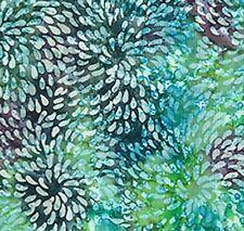 TURQUOISE BATIK FLORAL DESIGN BY JOHN LOUDEN - COTTON FABRIC FQ'S