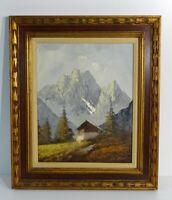 Vintage Oil Painting Mountains Cabin Landscape Illegible Signature