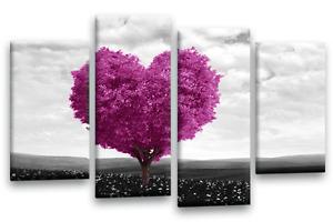 Floral Love Heart Wall Art Tree Canvas Print Tree Black White Grey Plum 4Split