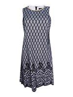 Jessica Simpson Women's  Two-Tone Lace-Print Shift Dress
