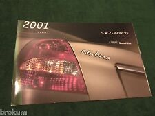 MINT 2001 DAEWOO NUBIRA DEALER ORIGINAL SALES BROCHURE NEW (BOX 521)