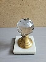 Vtg Two's Company Crystal Bronze & Marble Balustrade Paperweights 4.25'' T ~3''W
