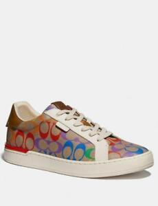 ❤️ Coach Lowline Low Top Sneaker Woman SZ9.5  G5169 Tan Rainbow Signature Canvas