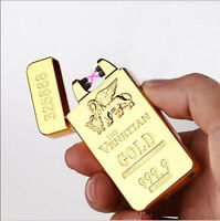 Electric Gold Bar DOUBLE ARCH PULSE PLASMA LIGHTER Metal Cigarette USB Gift UK