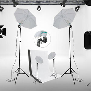 Photo Studio Continuous Umbrella Lighting Light Stand + Screen 2 Backdrops Kit