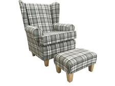 SLATE GREY TARTAN WINGED BACK CHAIR/ FIRESIDE CHAIR WITH MATCHING FOOTSTOOL