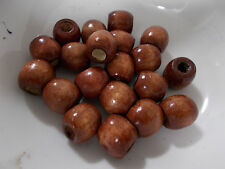 20pcs 18mm WOODEN Round Dreadlock Spacer Wood Beads - BROWN ( Large Hole 7mm )