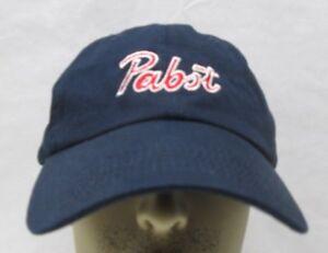 Pabst Beer Strapback Adjustable Trucker Hat Navy Blue Embroidered