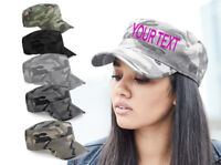 Personalize TEXT  ARMY CAP Camo Men Women Military Cadet Combat Cap Hunting Gift