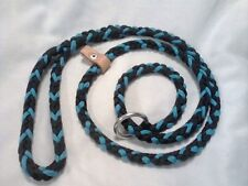 Paracord XL Dog SlipLeash Braided Handmade Turquoise and Black W/stopper(5 foot)