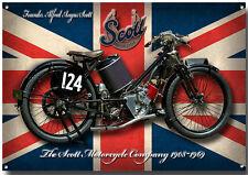 Groß A3 Größe Scott Motorcycle Enamelled Metall Schild Vintage British Motorrad