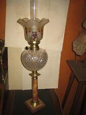 LAMPE à Pétrole avec SUPERBE TOUPIE CRISTAL TAILLE EPOQUE XIX°