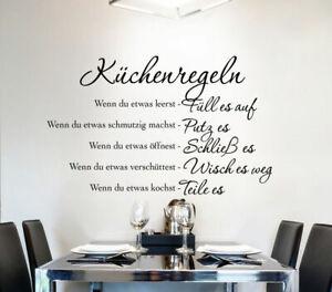 Wandtattoo Wandsticker Wandaufkleber Küche Wohnzimmer Sprüche Küchenregeln W1149