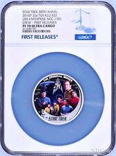 2016 Star Trek 50th Ann USS Enterprise NCC-1701 Crew 2oz Silver Coin NGC PF70 FR