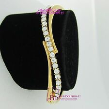 Real Women Solid 18k Yellow Gold GF Ladies Girl Oval Bangle Bracelet Lab Diamond