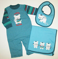 NWT GYMBOREE SNOW BEAR ONE-PIECE OUTFIT BIB BLANKET SET BOYS 3-6 MONTHS NEW