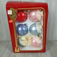 The Victoria Collection Rauch6 Glass Vintage Christmas Ornaments Ivory Pearl