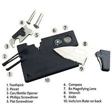 10 in 1 Multi Purpose Pocket Credit Card Survival Knife Outdoor Camping ToolsLJ