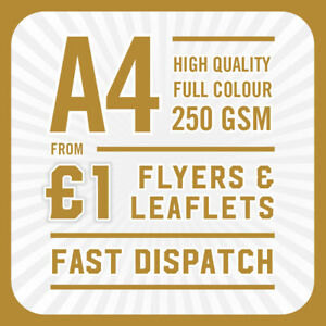 250 Full Colour Printed Flyers / Leaflets - A4 250gsm Gloss
