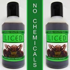 LICED organic natural safe head Lice treatment for all the family TWO BOTTLES