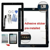For The New iPad 3 4 Touch Screen Digitizer Front Glass Home Button Tools Black