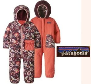 PATAGONIA reversible puffball bunting insulated hooded suit baby girls 6 12 mos