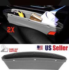2x PU Leather Catcher  Organizer  Caddy Car Seat Gap Filler Pocket Storage Gray