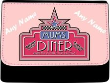 PERSONALISED AMERICAN MUMS DINER PRINT LADIES FAUX LEATHER PURSE GIFT BIRTHDAY