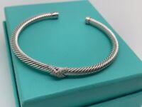 David Yurman Sterling Silver classic 4mm cable X station diamonds Bracelet