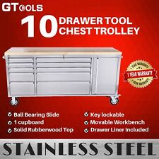 Rolling 10 Drawer Mechanic Tool Chest Trolley with Wooden Top Workbench