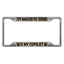 Toy Manchester Terrier Dogs Metal License Plate Frame Tag Holder Four Holes