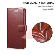 Vintage Leather Wallet Flip Cover Back Case for Samsung Galaxy J7 Max - Brown