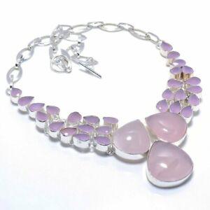 "Rose Quartz Gemstone Handmade 925 Silver Jewelry Necklace 18"" AL-6858"