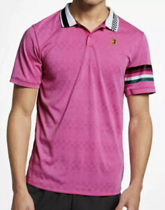 Mens NikeCourt Advantage Tennis Polo Dri Fit Pink AJ8072-623 $80 SIZE LARGE