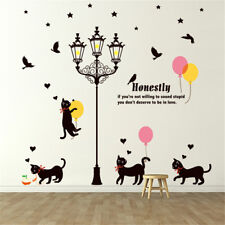 Black Street Lamp Cat Room Home Decor Removable Wall Sticker Decal Decoration