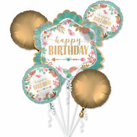 BoHo Floral Birthday Party Supplies Foil 5pcs Balloons Bouquet