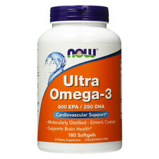 NOW FOODS Ultra Omega-3  fish oil 180 perle - 500 EPA - 250 DHA