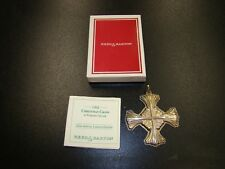 1992 Reed & Barton Sterling Silver Christmas Cross Pendant Ornament W/Box & Tag