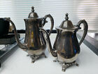 WM Rodgers Silver Plate Tea/Coffee Pots Hinged Tops Matched Pair Vintage