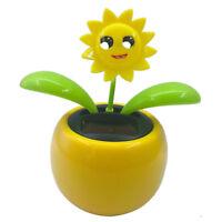 Flower Flip Flap Solar Powered Swing Pot Dancing Toy Car Decor Sunflower 2
