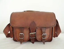 "Vintage Leather Messenger Bag 13"" Macbook Satchel Briefcase Laptop Shoulder Bag"