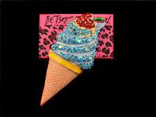 Cream Enamel Charm Brooch Pin Betsey Johnson Women's Blue Strawberry Ice