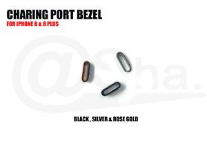 BLACK - Replacement Charging Port Metal Ring Bezel Bracket For iPhone 8 & 8 PLUS