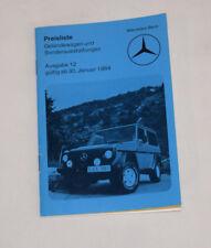 Mercedes G wagon Euro price list Jan 1984 240GD 300GD 230GE 280GE