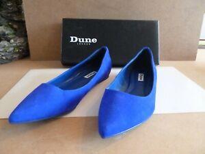 DUNE LADIES SHOES: BLUE NUBUCK POINT FLAT FLEX OUTSO UK 7 EU 40 BOXED