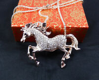 Rose Gold Plated Crystal horse Unicorn Pendant Sweater Chain Necklace