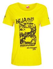 WOMENS Size 18 Puma BORUSSIA DORTMUND Cotton T Shirt Top Football Yellow 750554